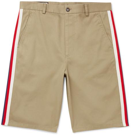b6a739614f0e2 Gucci - Webbing-Trimmed Cotton-Twill Bermuda Shorts