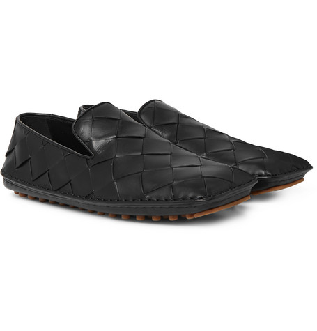 Bottega Veneta Shoes Intrecciato Leather Driving Shoes