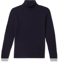 John Smedley - Roman Contrast-Tipped Ribbed Merino Wool and Cashmere-Blend Rollneck Sweater