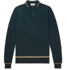 John Smedley Slim-Fit Contrast-Tipped Merino Wool Polo Shirt