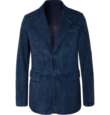 Blue Suede Blazer by Prada