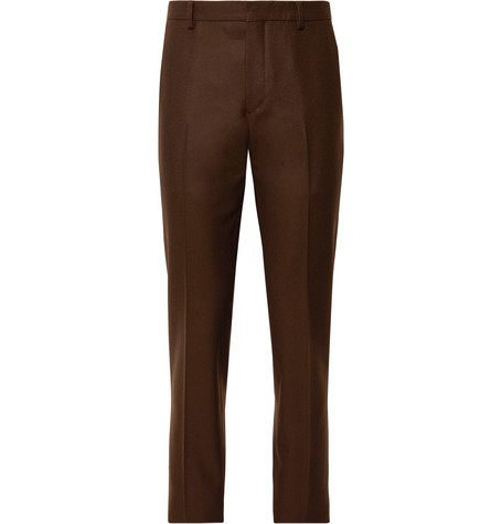 Brown Slim Fit Virgin Wool Suit Trousers by Prada