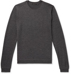 Prada Logo-Embroidered Mélange Virgin Wool-Blend Sweater