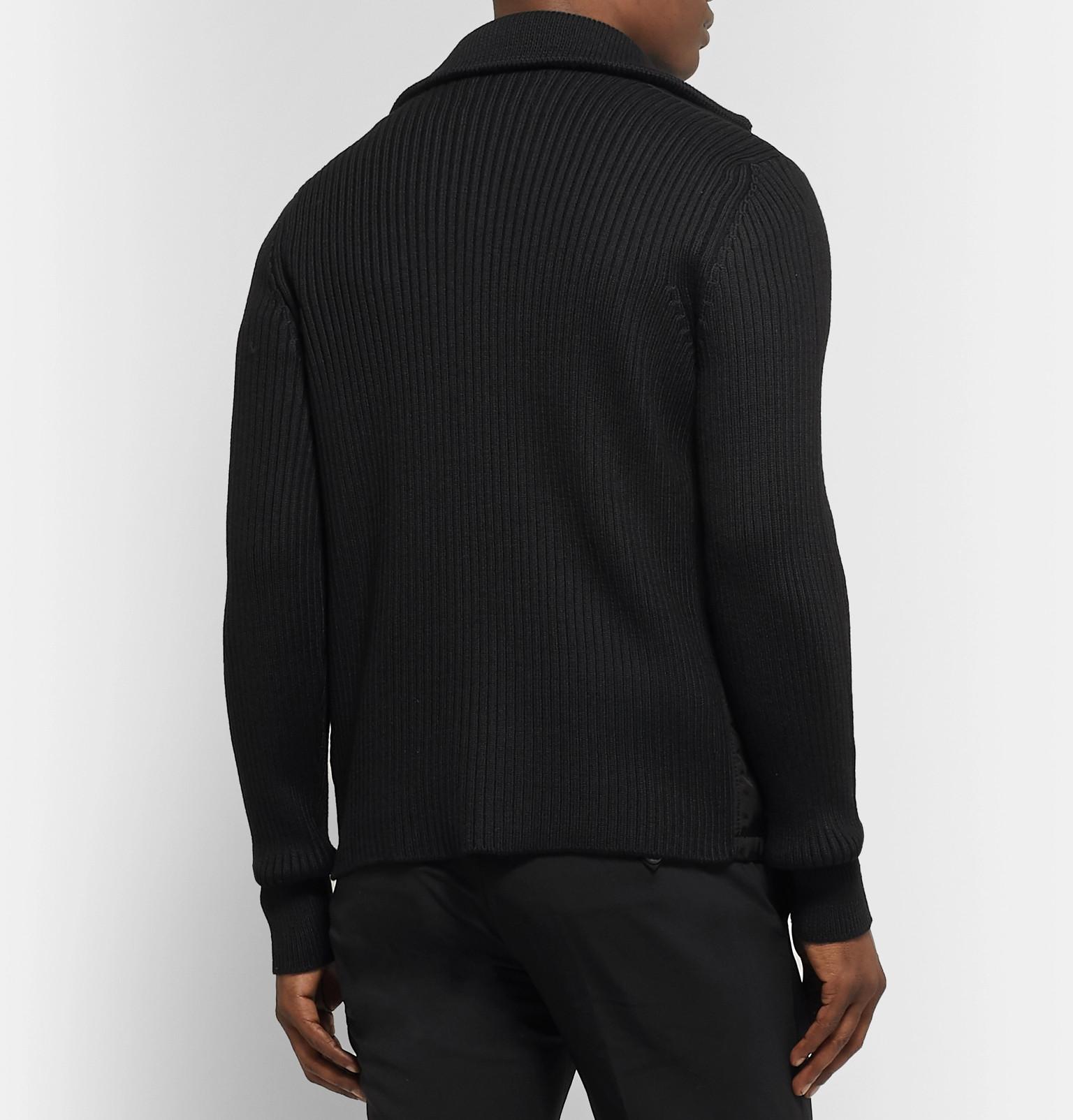 afd5c5bdb5a Prada - Shell-Panelled Ribbed Wool Zip-Up Cardigan