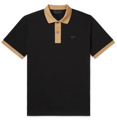 Prada Slim-Fit Logo-Appliquéd Contrast-Tipped Cotton-Piqué Polo Shirt