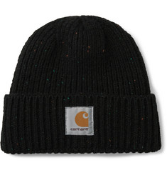 Carhartt WIP Anglistic Logo-Appliquéd Mélange Wool and Cotton-Blend Beanie