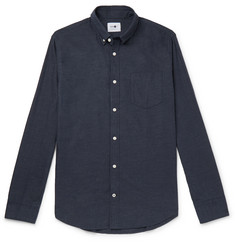 NN07 Levon Button-Down Collar Mélange Cotton-Flannel Shirt