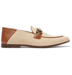 a45f96f6c6e7f Gucci Brixton Webbing-Trimmed Horsebit Collapsible-Heel Canvas and Leather  Loafers