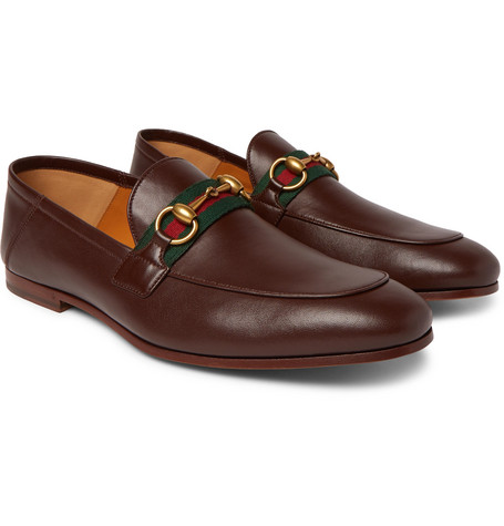Gucci Brixton Webbing-Trimmed Horsebit Collapsible-Heel Leather Loafers