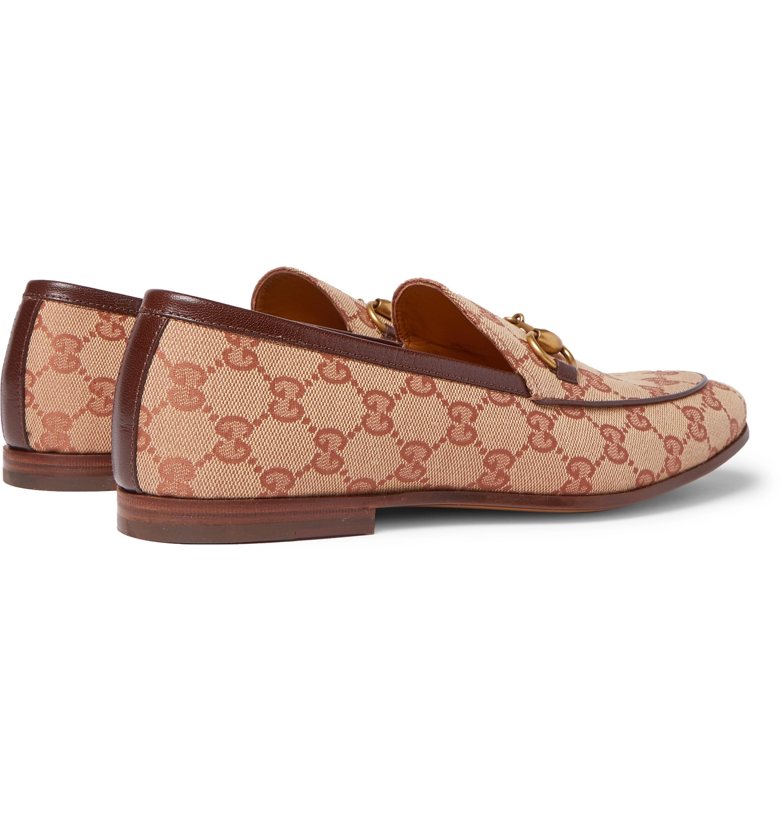 2d5008fbd Gucci - Jordaan Horsebit Leather-Trimmed Monogrammed Canvas Loafers