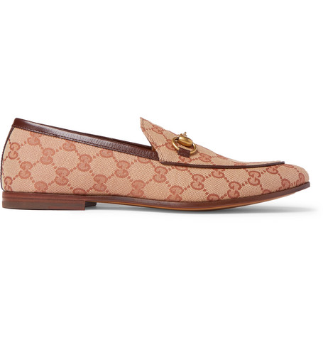 519c7a1d2 Gucci Jordaan Horsebit Leather-Trimmed Monogrammed Canvas Loafers In Beige