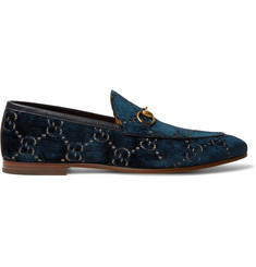 49ebc3a45 Gucci New Jordaan Horsebit Leather-Trimmed Logo-Embroidered Velvet Loafers