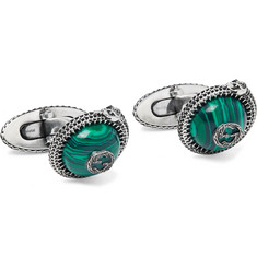 Gucci Burnished Sterling Silver and Resin Cufflinks