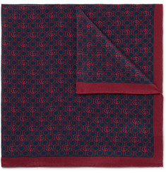 Gucci - Logo-Print Silk-Crepe Pocket Square