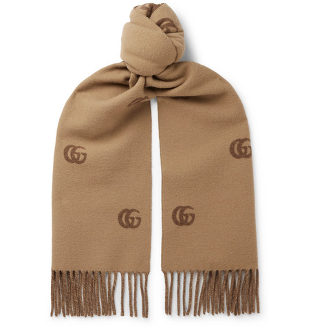 Fringed Logo Print Wool Scarf by Gucci