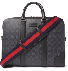 Gucci Leather-Trimmed Monogrammed Coated-Canvas Briefcase
