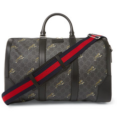 Gucci - Leather-Trimmed Monogrammed Coated-Canvas Holdall