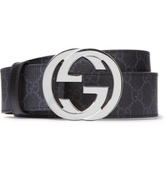 Gucci - 4cm Black Monogrammed Coated-Canvas Belt
