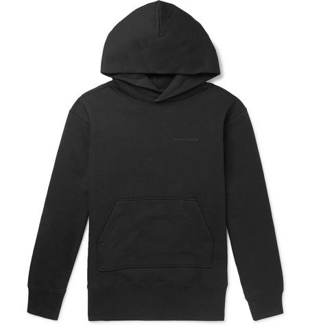 Bottega Veneta – Logo-print Fleece-back Cotton-blend Jersey Hoodie – Black