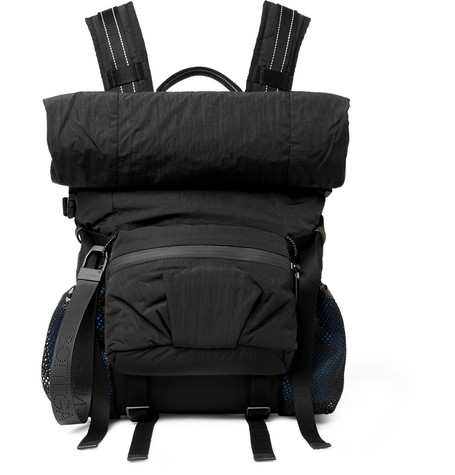 Leather Trimmed Nylon Backpack by Bottega Veneta