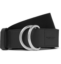 Bottega Veneta 4cm Black Canvas and Leather Belt