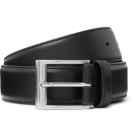3.5cm Black Leather Belt by Bottega Veneta