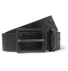3.5cm Black Intrecciato Leather Belt - Black