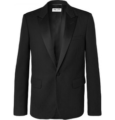 SAINT LAURENT - Black Slim-Fit Satin-Trimmed Virgin Wool-Jacquard Tuxedo Jacket