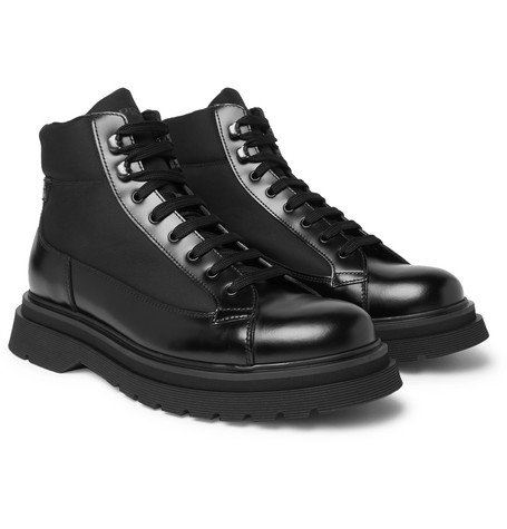 Spazzolato Leather And Canvas Boots by Prada