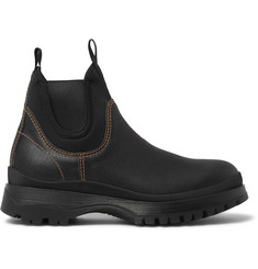 Prada Textured-Leather and Neoprene Chelsea Boots