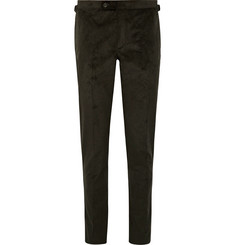 Thom Sweeney Dark-Brown Slim-Fit Tapered Cotton-Blend Corduroy Suit Trousers