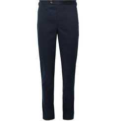 Thom Sweeney Midnight-Blue Slim-Fit Cotton-Blend Twill Trousers