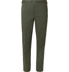 Thom Sweeney Tapered Cotton-Blend Twill Trousers