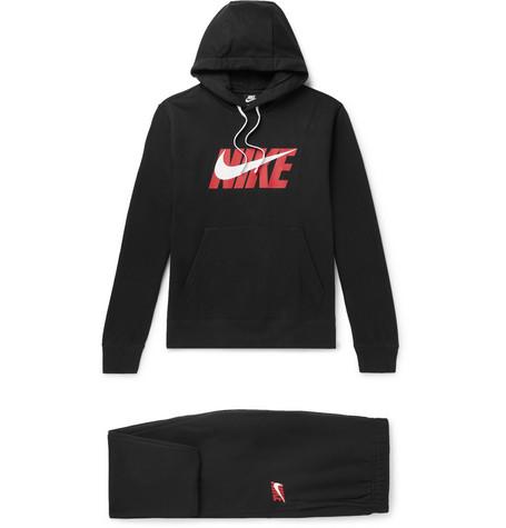 Nike – Logo-print Fleece-back Cotton-jersey Tracksuit – Black