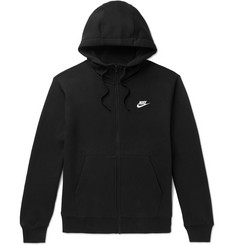 Nike Logo-Embroidered Fleece-Back Cotton-Blend Jersey Zip-Up Hoodie