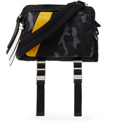 Prada Leather-Trimmed Camouflage-Print Nylon Messenger Bag