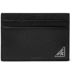 Prada Logo-Appliquéd Saffiano Leather Cardholder with Money Clip