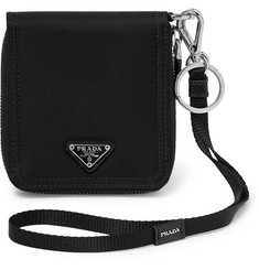 Prada Canvas and Saffiano Leather Zip-Around Wallet
