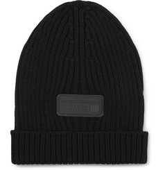 Prada - Logo-Appliquéd Ribbed Virgin Wool Beanie