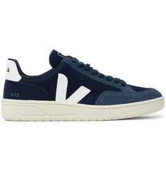 Veja V-12 Leather and Rubber-Trimmed Suede and B-Mesh Sneakers