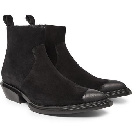 Balenciaga Santiag Suede Western Booties In Black