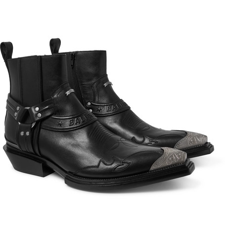 Santiag Embellished Leather Boots by Balenciaga