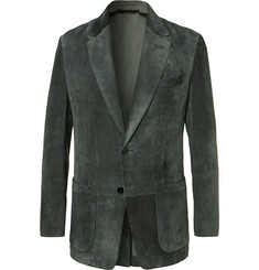 TOM FORD Dark-Green Slim-Fit Suede Blazer