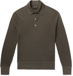 TOM FORD - Slim-Fit Waffle-Knit Cotton-Blend Polo Shirt