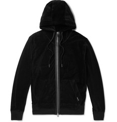 TOM FORD Grosgrain-Trimmed Cotton-Blend Velour Zip-Up Hoodie