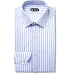 TOM FORD - Light-Blue Slim-Fit Striped Cotton Shirt