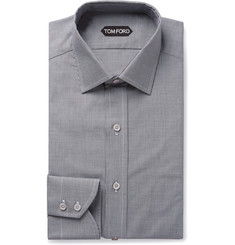TOM FORD Black Slim-Fit Puppytooth Cotton Shirt