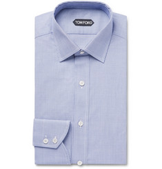 TOM FORD Navy Slim-Fit Puppytooth Cotton Shirt