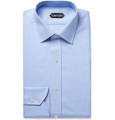 TOM FORD Light-Blue Slim-Fit Puppytooth Cotton Shirt