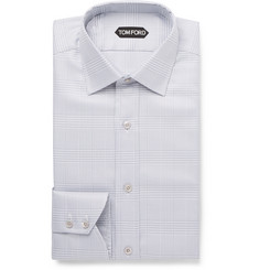 TOM FORD Light-Grey Slim-Fit Prince of Wales Checked Cotton Shirt